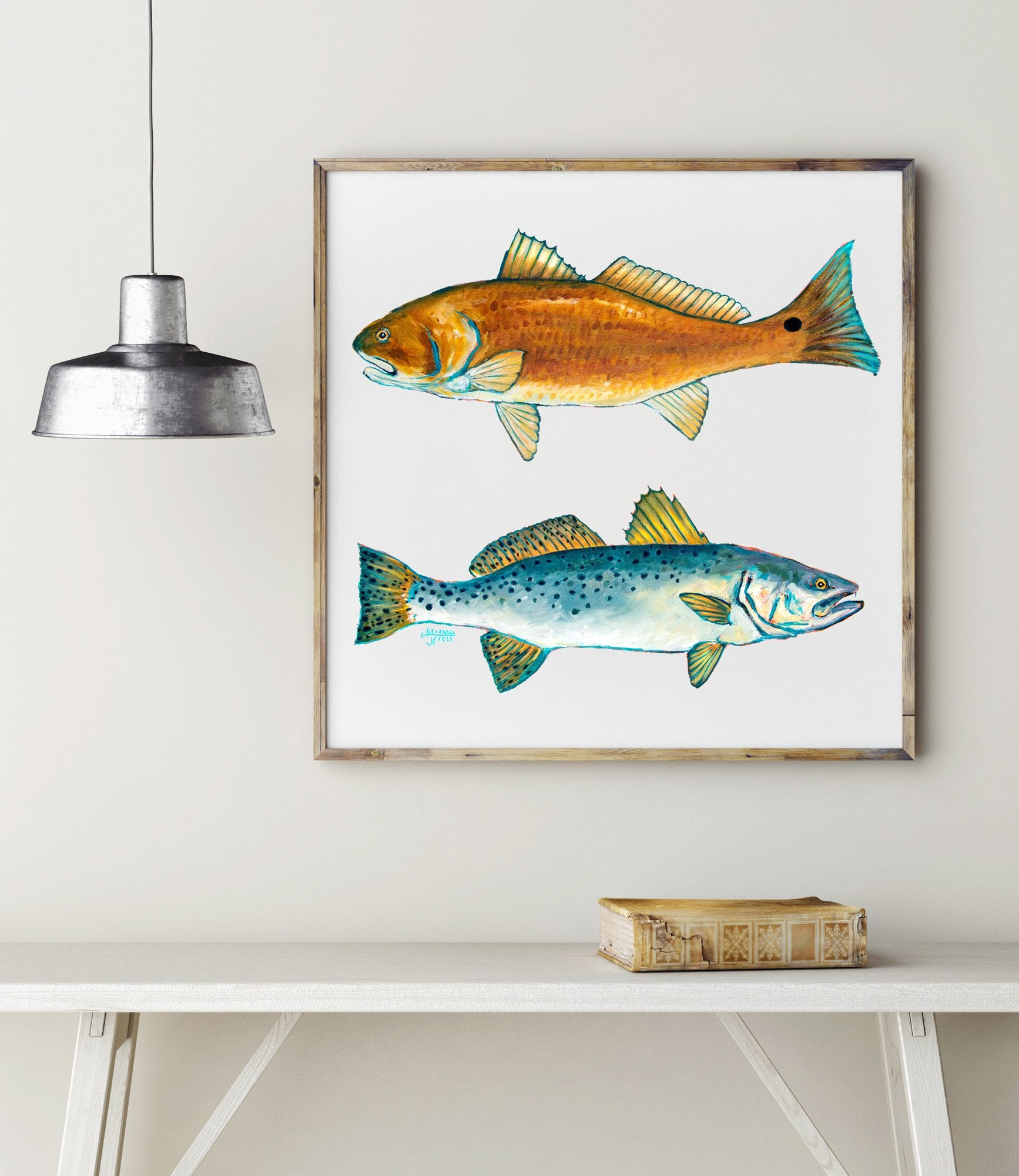 Red Fish and Trout Print Fish Wall Art