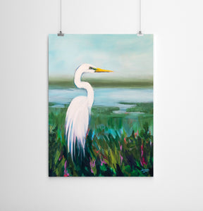 Egret Bird in the Marsh Painting