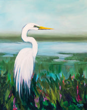 Load image into Gallery viewer, Egret Bird Print with Blues, Greens and White