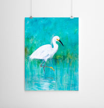Load image into Gallery viewer, Turquoise Painting of Snowy Egret