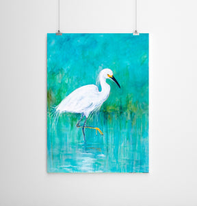 Turquoise Painting of Snowy Egret