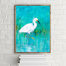 Load image into Gallery viewer, Snowy Egret Turquoise and White Wildlife Print