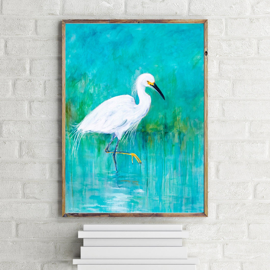 Snowy Egret Turquoise and White Wildlife Print