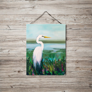Egret Bird Print with Blues, Greens and White