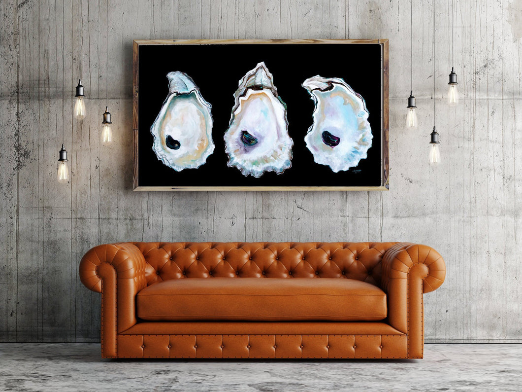 Stunning Print of Three Oyster Shells With Vivid Black Background, Coastal Art Beach Decor