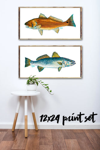 Art Print Set, Gifts for Him, Fisherman Gifts, Fish Art, Discounted Prints, Gallery Wall Art, Coastal Art, Red Fish Art, Fish Painting