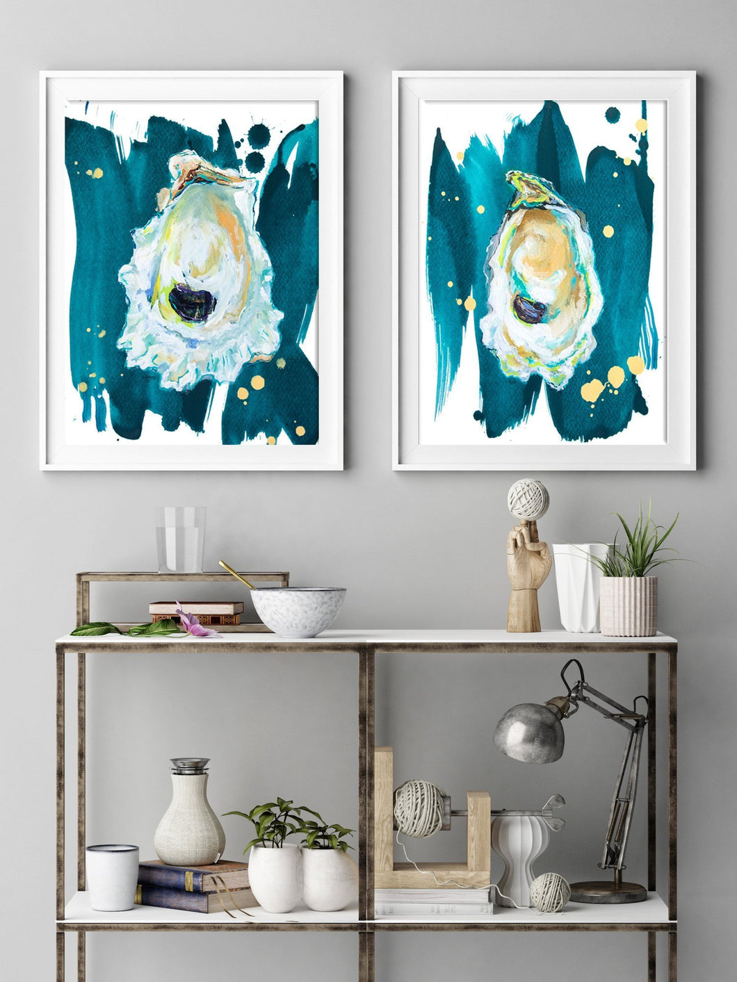 Art Print Sets, Oyster Prints, Oyster Art, Discounted Art Print Set of Two Oyster Paintings Gallery Wall Art