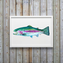 Load image into Gallery viewer, Rainbow Trout Watercolor Art Print, Fish Wall Decor, Fish Print, Coastal Art
