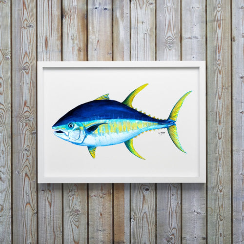 Yellowfin Tuna Watercolor Art Print, Fish Wall Decor, Fish Print, Coastal Art