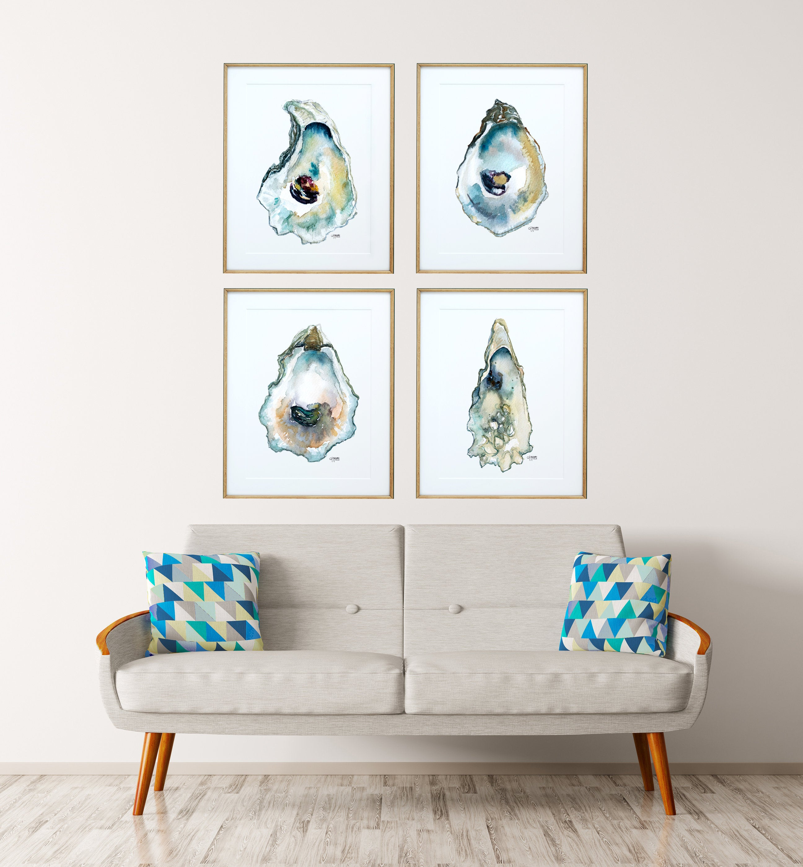 Watercolor Oyster Art Print Set of 4 by Coastal Artist Alexandra Nicole $96