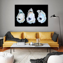 Load image into Gallery viewer, Stunning Print of Three Oyster Shells With Vivid Black Background, Coastal Art Beach Decor
