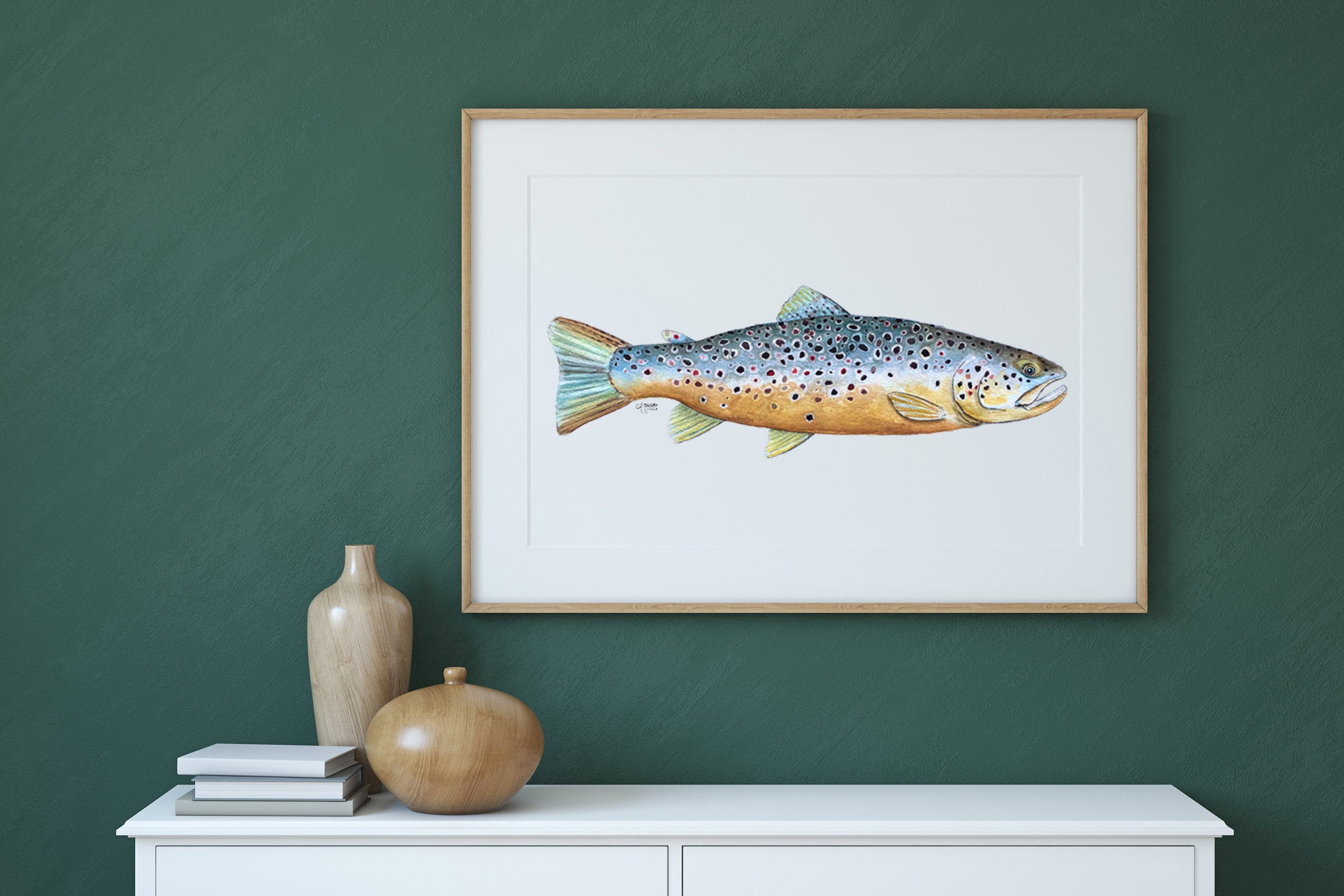 Trout Watercolor Art Print by Coastal Artist Alexandra Nicole $27