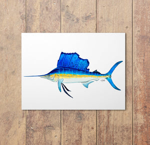 Sailfish Watercolor Art Print, Fish Decor, Coastal Art, Fish Print