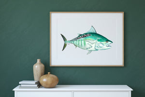 Bonita Watercolor Art Print, Fish Wall Decor, Fish Print, Coastal Art