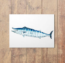 Load image into Gallery viewer, Wahoo Watercolor Art Print, Fish Wall Decor, Fish Print, Coastal Art