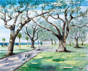 Charleston South Carolina, Southern Cities, Live Oak Tree Painting, Coastal Town, Oak Tree Painting, Low Country Art, Tree Decor, Tree Print