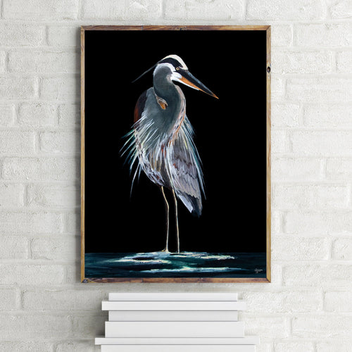 Great Blue Heron Fine Art Print, Bird Prints, Heron Painting, Coastal and Wildlife Art