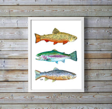 Load image into Gallery viewer, Trout Art Print, Brook Trout, Brown Trout, Rainbow Trout, Fish Watercolor Art Print, Fishing Gifts for Men, Watercolor Trout Print,