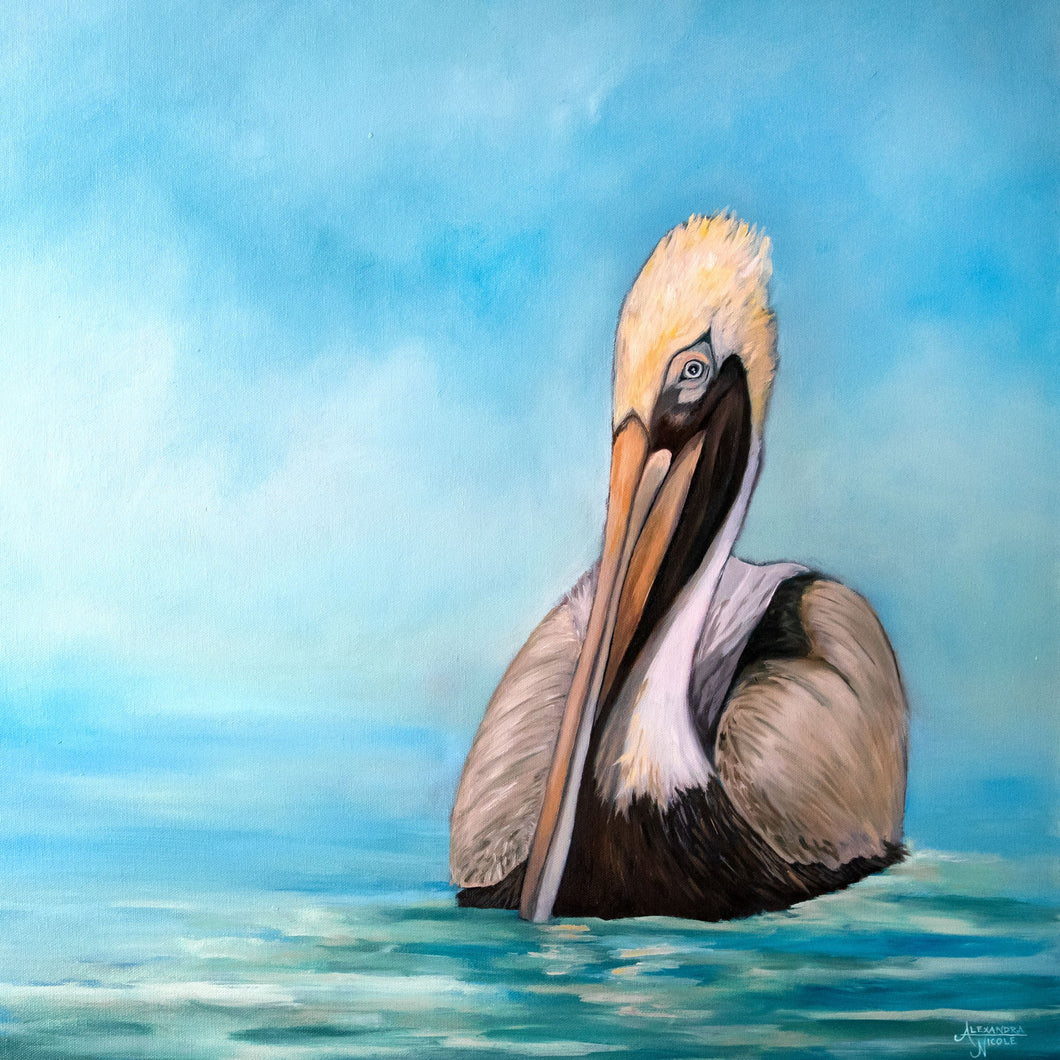 Pelican Art Print, Bird Painting, Pelican Painting, Wildlife Art