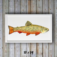 Load image into Gallery viewer, Trout Watercolor Art Print, Brook Trout, Dad Gift, Fisherman Gift, Fish Print