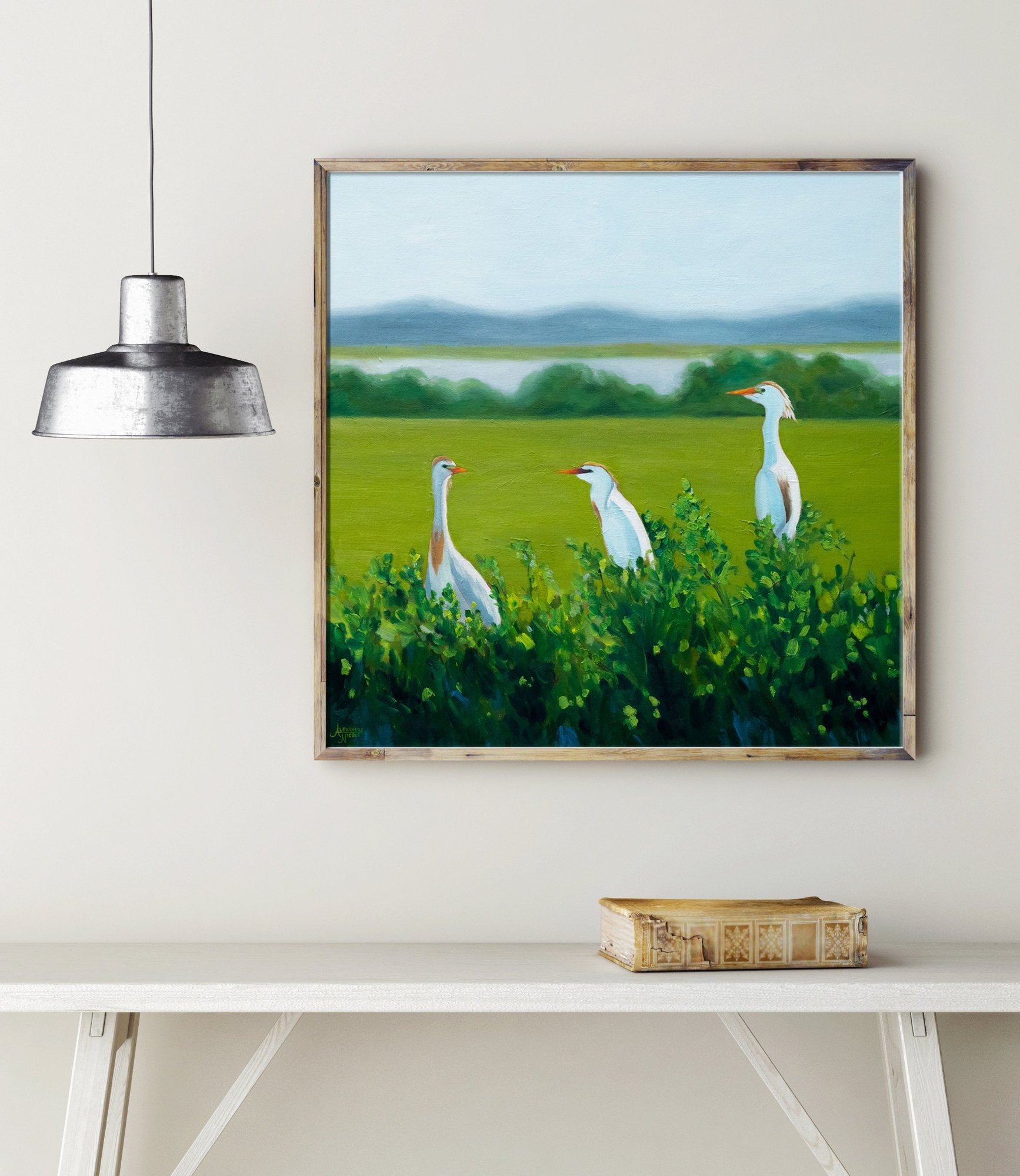 Egret Art Print, Egret Painting, Coastal Bird Art, Wildlife Art