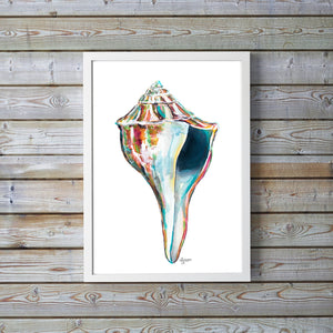Sea Shell Watercolor Art Print, Whelk Print, Shell Print, Sea Shell Art, Beach House Decor