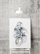 Load image into Gallery viewer, Oyster Cluster Watercolor Print, Shell Print, Oyster Shell Print, Sea Shell Art, Oyster Prints, Title Oyster Cluster 1