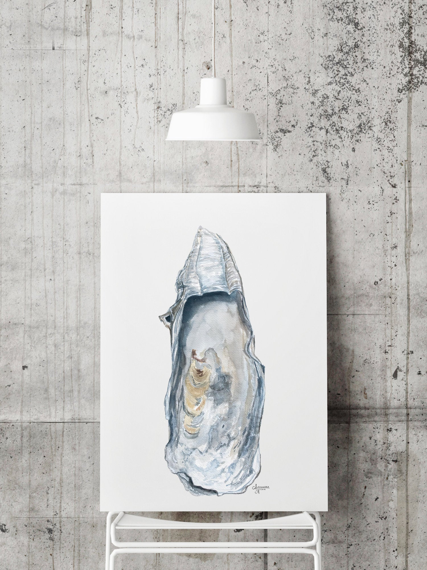 East Beach 1 Watercolor Oyster Shell Fine Art Print