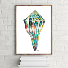 Load image into Gallery viewer, Shell Watercolor Art Print, Whelk Print, Shell Wall Decor, Sea Shell Art, Beach House Decor