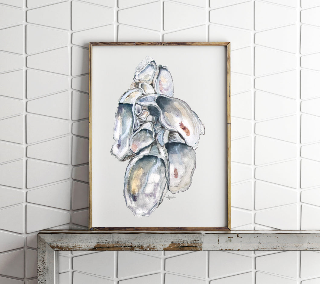 Oyster Cluster Watercolor Print, Shell Print, Oyster Shell Print, Sea Shell Art, Oyster Prints, Title Oyster Cluster 1