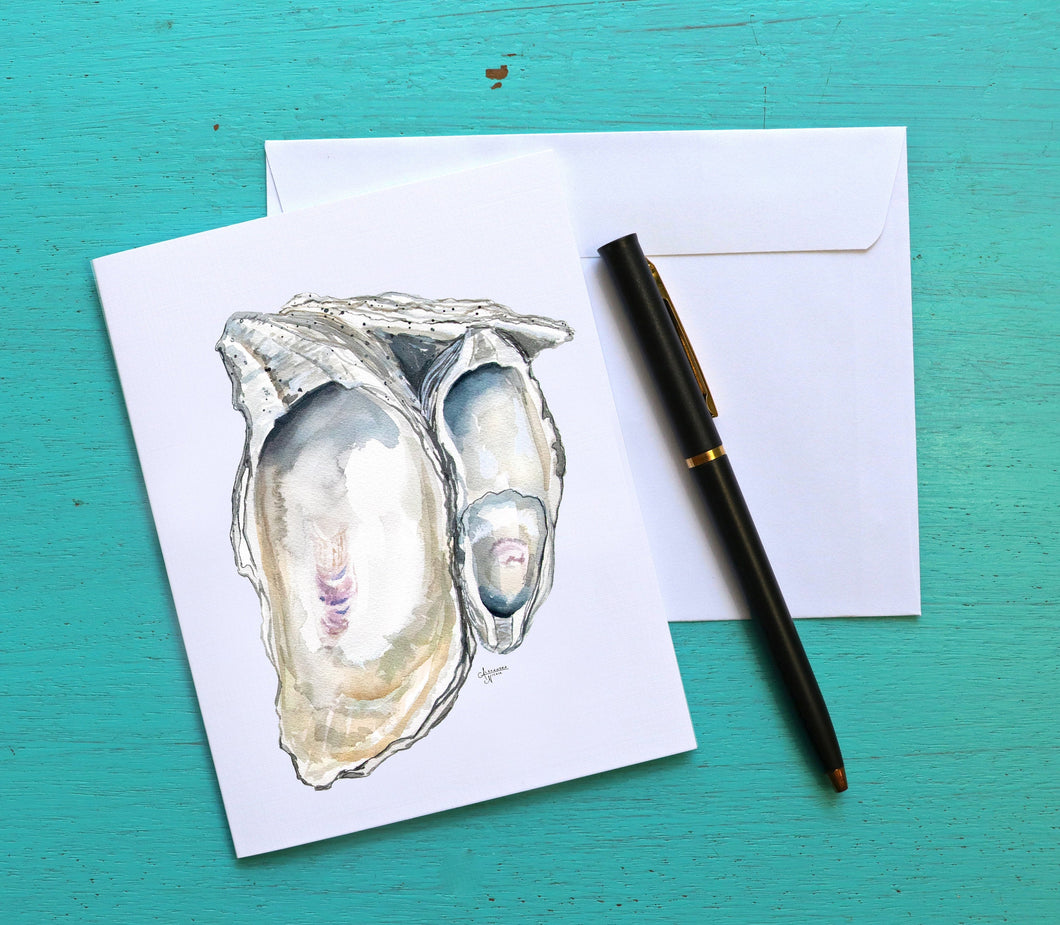 Oyster Shell Stationery, Neutral Oysters, Watercolor Oyster, Oyster Card, Nautical Stationery, Stationery Gift, Writing Supplies