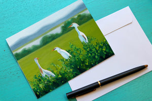 Egret Card, Bird Greeting Cards, Coastal Notecards, Bird Cards, Teacher Gift, Bird Art, 8 ct. Linen