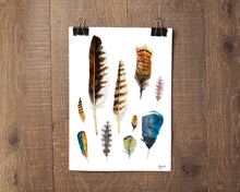 Load image into Gallery viewer, Watercolor Feather Art, Feather Painting, Living Room Wall Art, Boho Wall Art, Nature Art