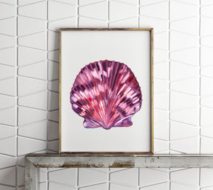 Sea Shell Print, Scallop Shell, Sea Shell Art, Beach House Decor, Coastal Decor