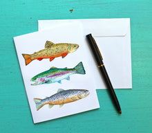 Load image into Gallery viewer, Fish Note Card Set, Trout Card
