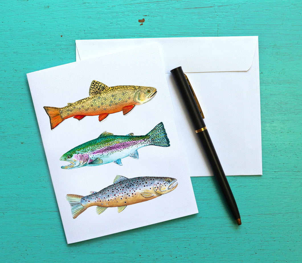 Fish Note Card Set, Trout Card