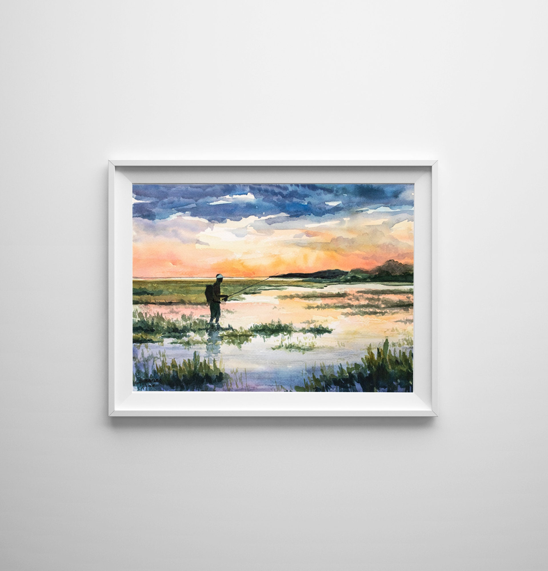 Coastal Marsh Painting, Marsh Print, Low Country Painting, Sunset Painting, Fisherman Gift, Fly fishing