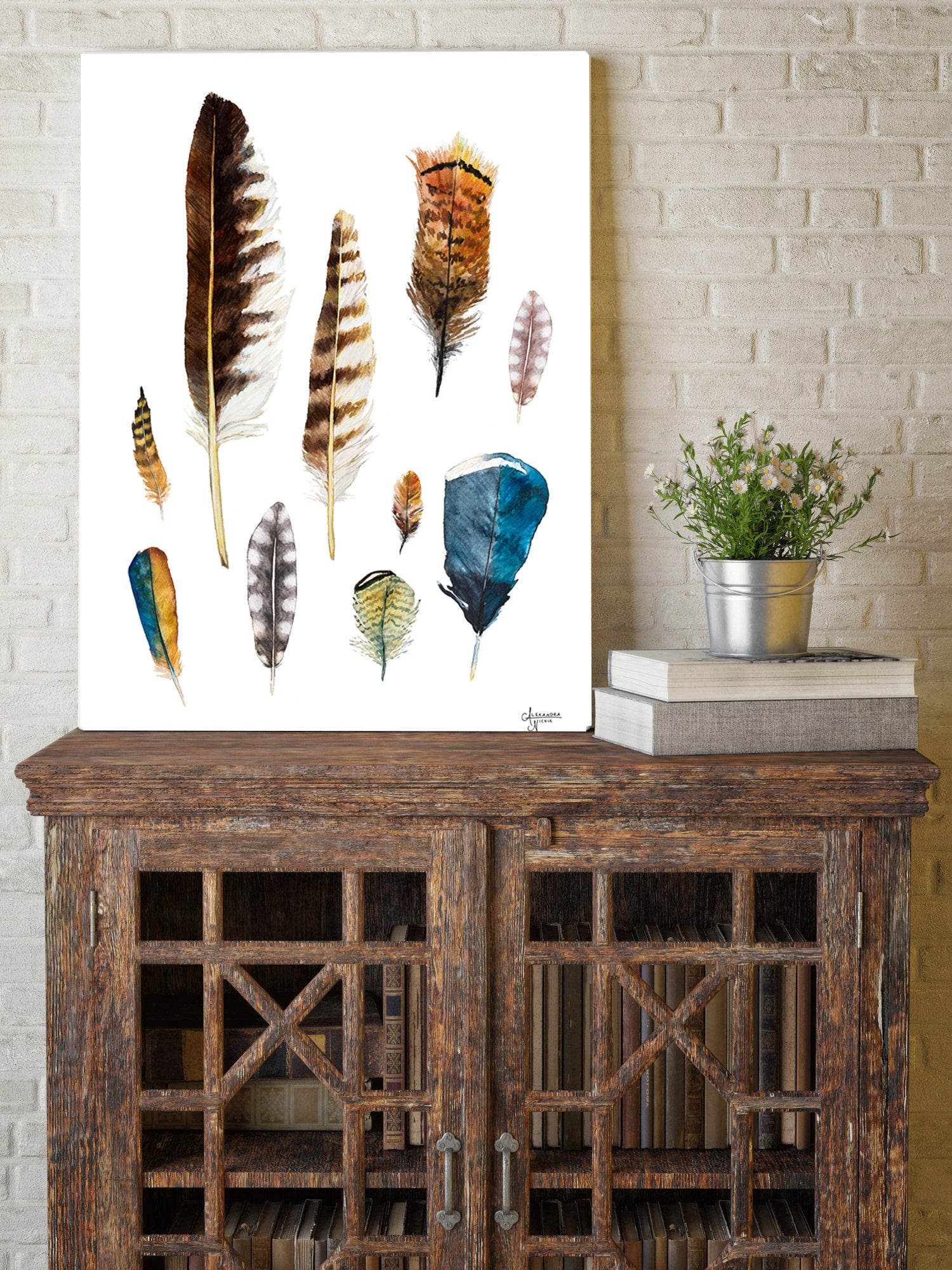 Watercolor Feather Collection Art Print by Coastal Artist Alexandra Nicole $27