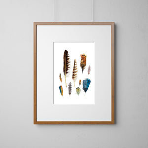 Watercolor Feather Art, Feather Painting, Living Room Wall Art, Boho Wall Art, Nature Art