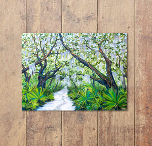 Cumberland Island Trail, Oak Tree Print, Tree Painting, Live Oak, Tree Print