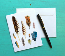 Load image into Gallery viewer, Feather Cards, Coastal Notecards, Teacher Gift, Feather Art