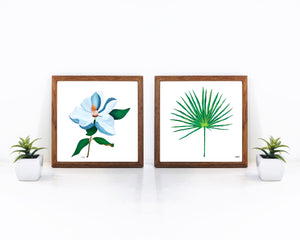 Set of 2 Prints, Botanical Wall Art, Botanical Print Set, Leaf Paintings, Plant Wall Art, Palmetto Frond, Magnolia Flower Art,