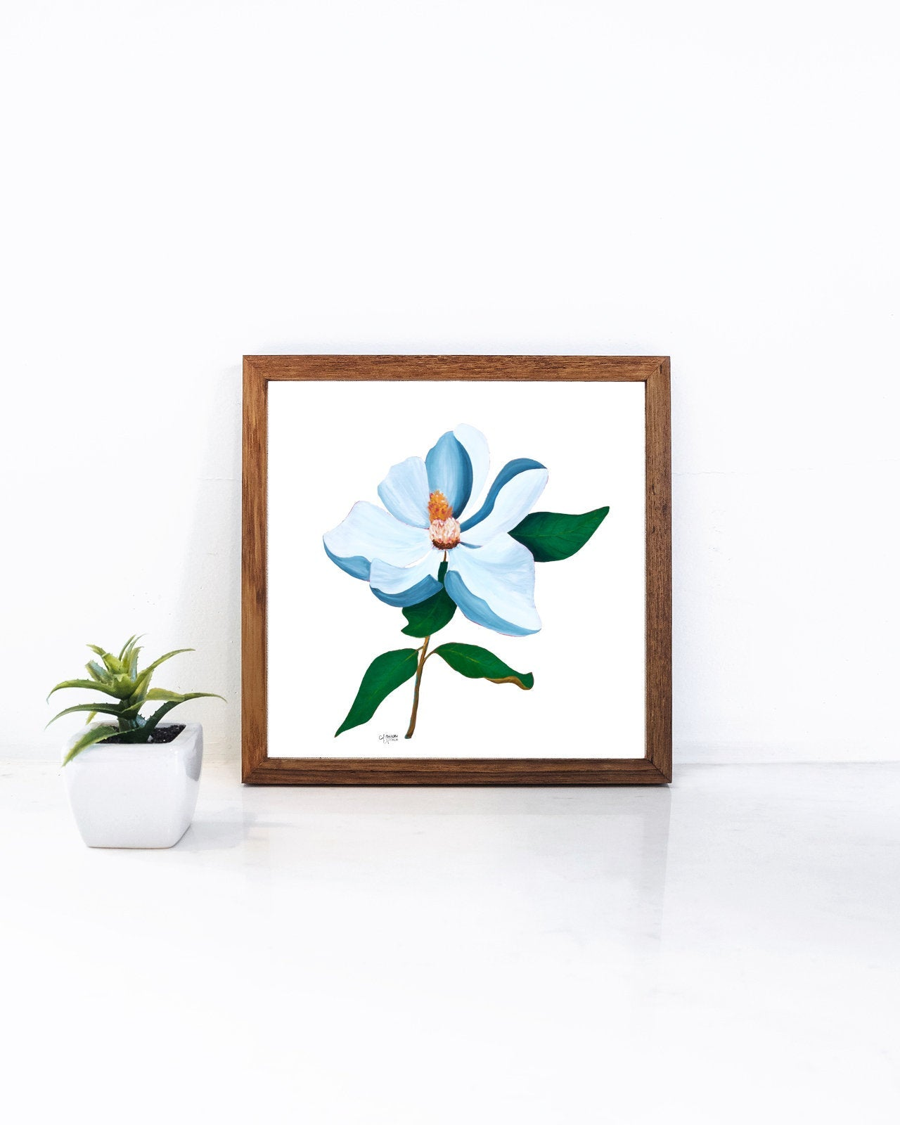 Botanical Print Set of 2, Palmetto Frond and Magnolia Flower Art