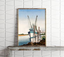 Load image into Gallery viewer, Shrimp Boat Print, Boat Painting, Fishing Boat Print, Watercolor Boat Painting, Lowcountry Art, Marsh Painting, Coastal Wall Art, Shrimp Art