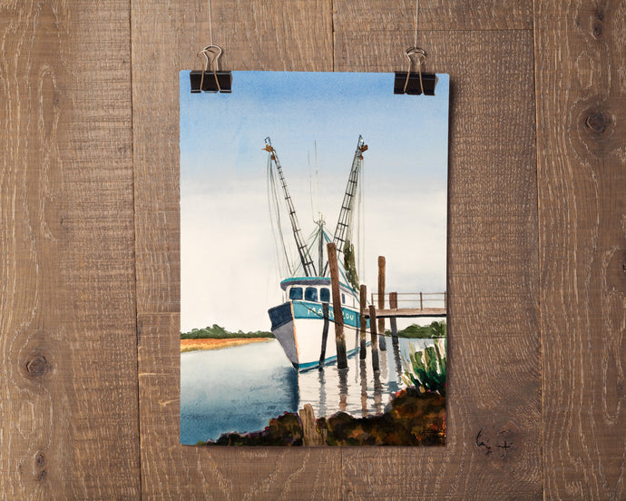 Shrimp Boat Print, Boat Painting, Fishing Boat Print, Watercolor Boat Painting, Lowcountry Art, Marsh Painting, Coastal Wall Art, Shrimp Art