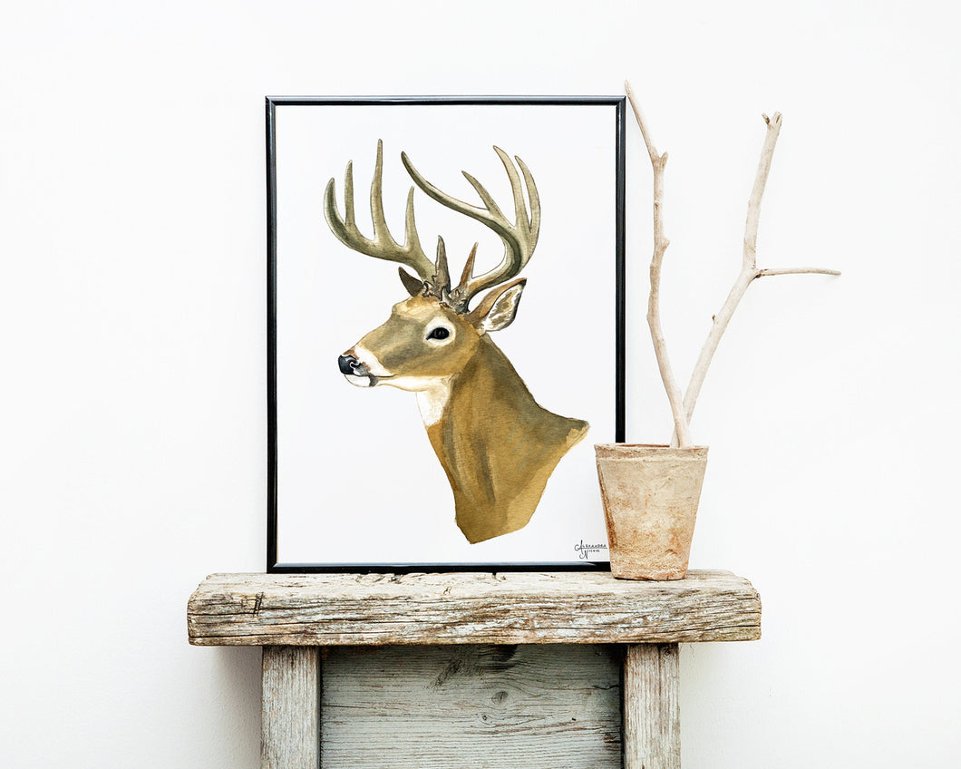 Watercolor White Tailed Deer Painting, White Tailed Deer Buck, Deer Art, Deer Painting, Woodland Animal Print, Forest Animal Print,