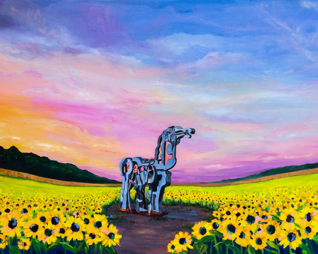Athens Georgia Art, Athens Georgia Landmark, The Iron Horse, Sunflower Field, Sunflower Painting