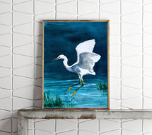 Load image into Gallery viewer, Snowy Egret Painting, Egret Art Print, Egret Artwork, Egret Painting, Bird Watercolor, Egret Watercolor, Bird Art