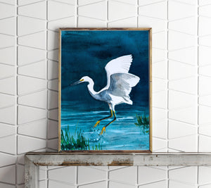 Snowy Egret Painting, Egret Art Print, Egret Artwork, Egret Painting, Bird Watercolor, Egret Watercolor, Bird Art