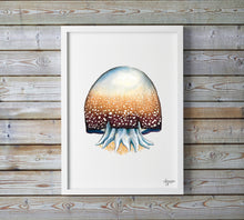 Load image into Gallery viewer, Cannonball Jellyfish, Jellyfish Painting, Jellyfish Print, Ocean Art,  Sea Life Nursery, Marine Life Painting, Watercolor Sea Creatures